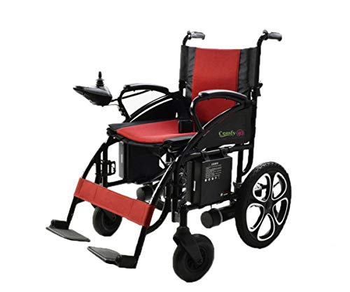 ComfyGO Electric Wheelchair Folding Motorized Power Wheelchairs, Fold Foldable Power Compact Mobility Aid Wheel Chair, Powerful Dual Motor Wheelchair (Red)