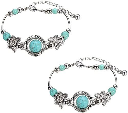 3 pulseras de estilo étnico retro, talladas, para mujer, estilo étnico, pulseras de mariposa talladas, pulseras bohemias de joyería para amigos de la familia