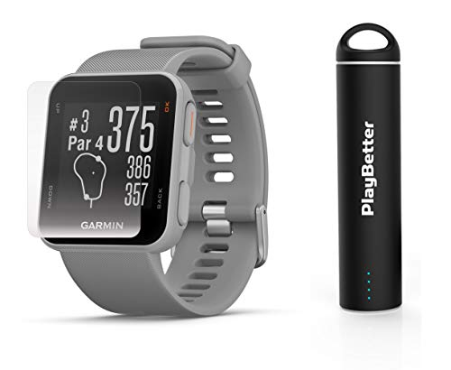 Garmin Approach S10 (Powder Gray) Golf GPS Watch Power Bundle | Includes HD Screen Protectors & PlayBetter Portable Charger | 40,000 Pre-Loaded Worldwide Courses, Simple Golf GPS Watch