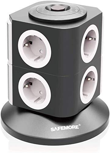 Stekkerdoos Schakelbaar SAFEMORE 8 Voudige met Overbelastingsbeveiliging 2500W / 10A, Stopcontact met 2 m kabel en kinderslot - Wit + Zwart