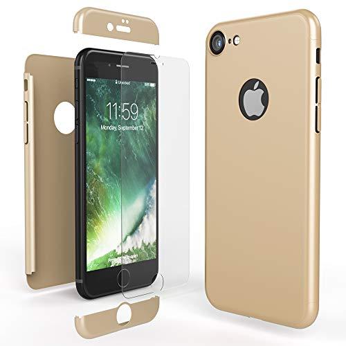 NALIA Funda Integral Compatible con iPhone 8, Carcasa Completa con Cristal Templado, Ultra-Fina Movil Cubierta Dura Bumper Delantera y Trasera Hard-Case Smart-Phone Cover, Color:Gold Oro