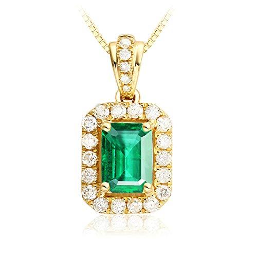 Blisfille Colgante de Esmeralda Diamante de 0.45ct Joyería Collar Plateado Boda Colgantes de Oro 18 Kilates Mujer