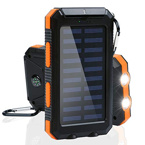 Solar Charger Power Bank, 20000mAh Portable Solar Battery Charger with LED Flashlight, Compass, 5V/2A, Outdoor Solar...