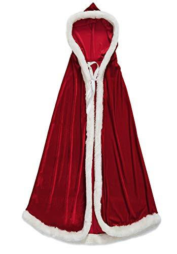 Christmas Santa Claus Costume Hooded Cape Gift Kid Men Women Xmas Cappa Cloak