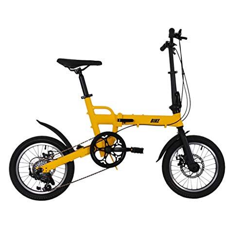 TYXTYX Bicicleta Plegable de Aluminio de 16 Pulgadas con 6 velocidades, con Frenos de Disco,portátil Boy Adultos y Chica de la Bicicleta de la Bicicleta Infantil