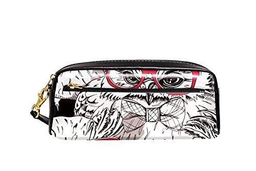 Búho en un rojo gafas y en una pajarita imagen lápiz caso pu cuero papelería bolsa caso escolar caja lápiz mujeres bolso cosmético