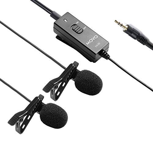 Movo LV20 Micrófono Entrevista de Solapa Corbata Condensador Omnidireccional con Clip Alimentado por Dos Baterías para Cámaras, Videocámaras y Grabadoras (Conector TRS 3.5mm)