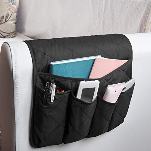 MDSTOP Sofa Chair Armrest Organizer, Anti-Slip Caddy Pocket for Couch Armchair, Storage Pouch for Phone, Book, Magazines, TV Remote Control (Black)