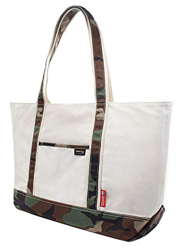 Rough Enough Extra Large Utility Tote for Women Canvas Heavy Duty Blank Camo Men 30L with Pockets Zipper Bag Organizer Insert Compartment Designer for Work Travel Essentials School Casual Class Trip