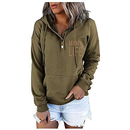 Fall Solid Hoodie for Women Hooded Sweatshirts Button Down Sweatshirt...
