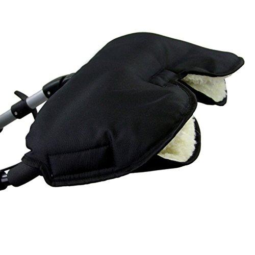 BAMBINIWELT universaler Muff/Handwärmer für Kinderwagen, Buggy, Jogger mit Wolle, UNI (Schwarz) XX