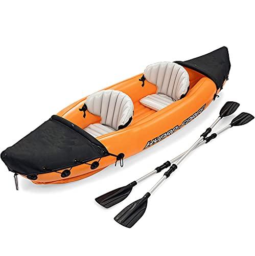 Kajak 2-Personen Aufblasbare Kajaks Set Kanu Leichtes Schlauchboot mit Aluminiumrudern und Hochleistungs-Luftpumpe für Erwachsene Kinder