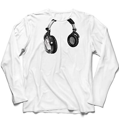 lepni.me Camiseta de Manga Larga para Hombre Regalo de DJ para los Amantes de la música Música Retro, Electrónica, Auriculares Imprimir (Small Blanco Multicolor)