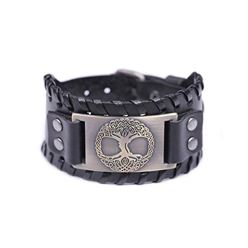 CNZXCO Viking Bangle Men, Viking Shield, Viking Ax, Viking Tree Of Life, Vintage Wrap Wicca Metal Leather Bracelet Amulet, Adjustable Cuff Bracelet Vintage Men (Color : F)