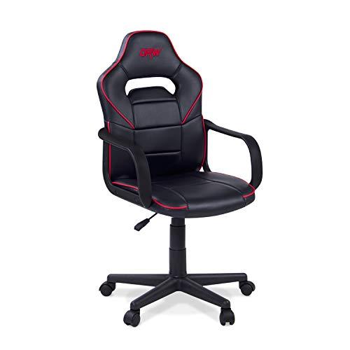 Adec - DRW, Silla de Escritorio Estudio o despacho, sillón Gaming Acabado en Color Negro y Rojo, Medidas: 60 cm (Ancho) x 98-108 cm (Alto) x 60 cm (Fondo)