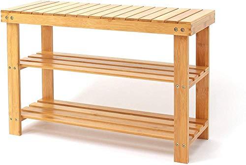 ZXCN Estante de bambú para ZapatosBanco de Almacenamiento de Zapatos 3 Niveles70 x 45 x 28 cm (27 6 x 17 7 x 11 Pulgadas)Material: bambúIdeal para el Pasillo,baño,Sala de Estar