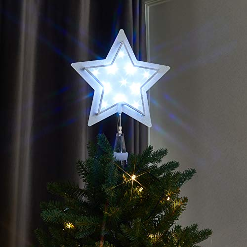 EAMBRITE Double-Layer Star Treetop with Flashing LEDs Christmas Tree Topper Star Lights (27 cm/Cool White)