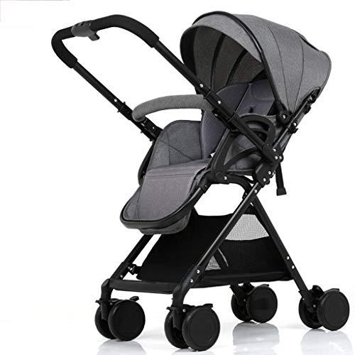 Yankuoo 3-in-1 kinderwagen, draagbaar babyreissysteem, opvouwbare kinderwagen, 4-wiel-schok, vijfpuntsgordel, 1-knops vouwen, 0-36 maanden Donkergrijs