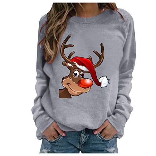 FeelFree+ Sudadera Sin Capucha Mujer Camiseta casual con estampado navideño reno Otoño invierno blusas tops Manga Larga Cuello Redondo Suelto Pullover Sweatshirt Diaria Desde Casa fiesta