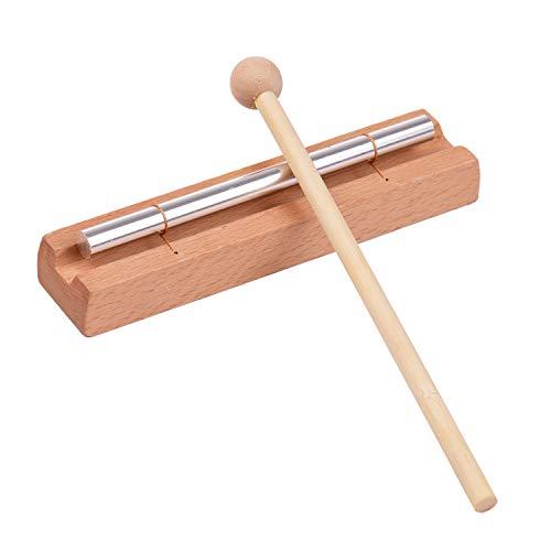 Carrilhões, Andoer Sinos de madeira de 1 tom com martelo Instrumento de percussão para Oração Yoga Meditação Brinquedo de sino musical para crianças Sino de lembrete de sala de aula dos professores