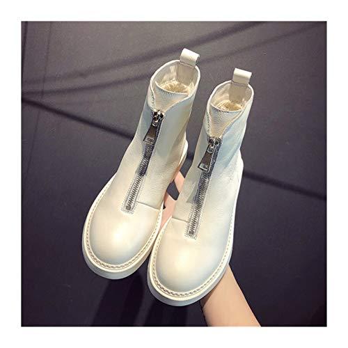 Youpin 2021 Nuevos zapatos casuales para mujer invierno caliente botas de cuero genuino moda moda moda suave salvaje caliente tubo corto botas (color: beige, tamaño del zapato: 6)