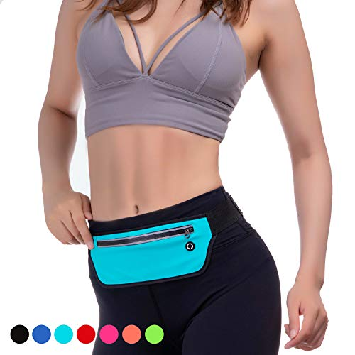 KEGE Multiple Color Slim Reflective Running Belt Fanny Pack, Bounce Free Water Resistant Exercise Workout Pouch Lightweight Waist Pack Gym Phone Holder for All Kinds of Phones (Baby Blue)