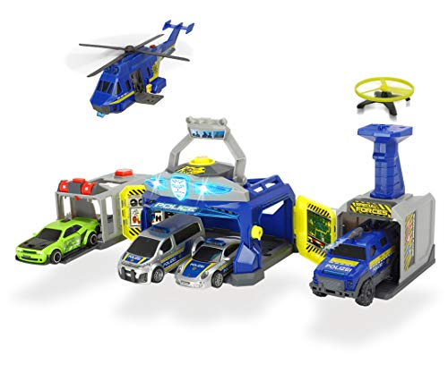 Dickie Toys 203719011 Polizeistation, Ultimate Police Headquarter, Set Polizei, inkl. Fahrzeuge, bekannt aus TV-Werbung, Geschenkset Kinder, Mehrfarbig