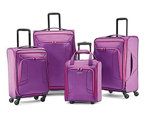 American Tourister 4 Kix Expandable Softside Luggage with Spinner Wheels, Purple/Pink, 4-Piece Set (RT/21/25/28)