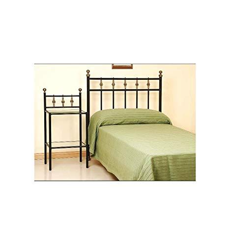 Cabecero de forja y latón Galia - Negro, Brillante, Cabecero para colchón de 150 cm