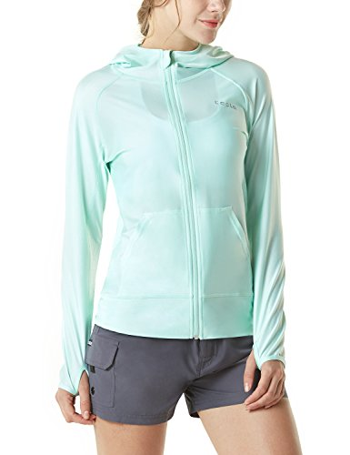 TSLA Women's Hoodie Zip Front Rash Guard, UPF 50+ Long Sleeve Swim Shirts, UV/SPF Sunscreen Wetsuit Swimsuit Top, Sun Block Zip Hoodie(fsz02) - Mint, Small