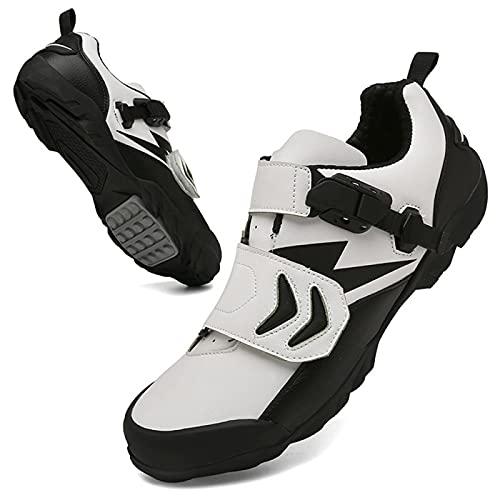 BSTL Zapatillas De Bicicleta para Hombre y Mujer Zapatillas De Ciclismo De Carretera Antideslizantes y Resistentes Al Desgaste Zapatillas De Ciclismo De Montaña Sin Candado Zapatillas,White-47