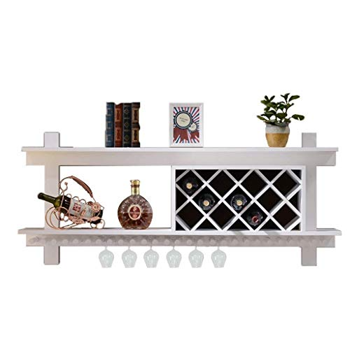 Pgs Wine Rack, Modern Minimalist Office wijnrek Rack, Planken for wandmontage Wandversiering keuken op Wijn Storage Rack, verkoolde, White, twee maten (Color : Walnut, Size : 80 * 58 * 23CM)