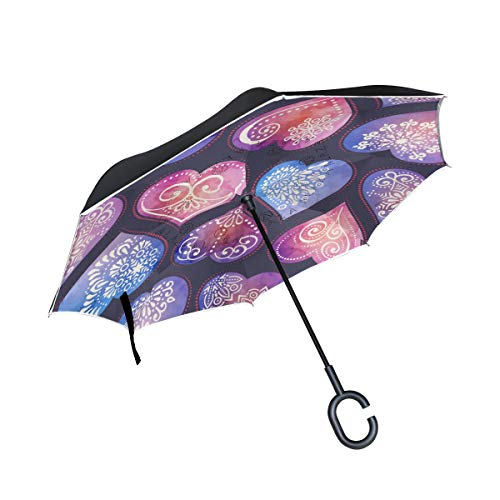 Heart And Watercolor Mandalas Rainproof and Windproof UV Protection Double Layer Folding Inverted Umbrella with C-Shaped Handle Reverse Umbrellas For Car Rain Outdoor
