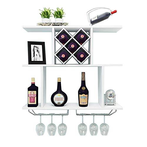 ZHTY An der Wand montierter Weinschrank Moderner minimalistischer Weinregal in Diamantform MDF-Display Floating Partition Storage Rack Einheit Rahmen Weingläser und Flaschenhalter