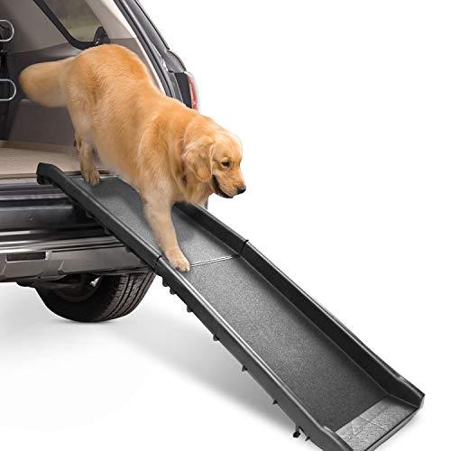 wolketon hunderampe Auto klappbar, Tragbare leichte Rampe für Hunde Auto, stabil strapazierfähig rutschfest, 156 x 40cm, max 90 kg, Ideal für Autos, LKW und SUVs