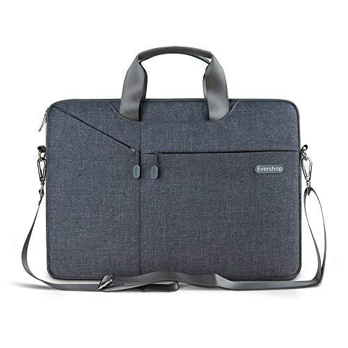 3 in 1 Laptop Tasche - Evershop Handtasche Schultertasche Aktenkoffer für Macbook Air Pro / Notebook / Oberfläche / Tablet Abdeckung fit Bildschirmd(15,4 inch, Grau)