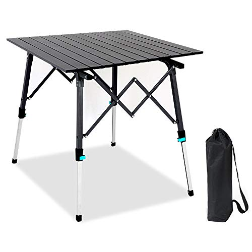 CUGBO アウトドアテーブル 折りたたみ キャンプテーブル アルミ ロールテーブル 高さ調整可能 コンパクト テーブル 耐荷重30kg キャンプ BBQ 登山 ツーリング用 収納袋付き 携帯便利 ブラック