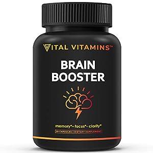 VITAL VITAMINS Brain Supplement Nootropics Booster - Enhance Focus & Mind, Boost Concentration, Improve Memory & Clarity for Men Women, Ginkgo Biloba,Dmae,Iq Neuro Energy, Vitamin B12 Bacopa Monnieri