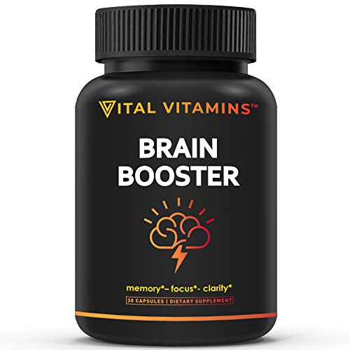 Brain Supplement Nootropics Booster - Enhance Focus, Boost Concentration, Improve Memory & Clarity for Men & Women, Ginkgo Biloba, Dmae, Mind Enhancement, Iq Neuro Energy, Vitamin B12 Bacopa Monnieri