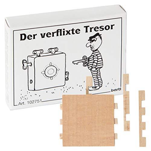 Bartl 102751 Mini-Holz-Puzzle Der verflixte Tresor aus einem kleinen Holzteil mit 6 Holzschlüsseln