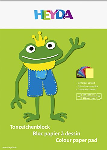 Heyda 2047125 Tonzeichenblock (A4, 130 g/m², 10 Blatt) 10 Farben