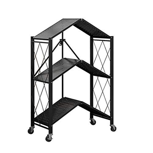Estante Plegable Negro, Cocina De Almacenamiento De Metales De Cocina Soporte De Carro De Microondas Para Interiores Y Exteriores - Unidad De Almacenamiento De Alta Resist(Size:71×39×87cm,Color:Negro)