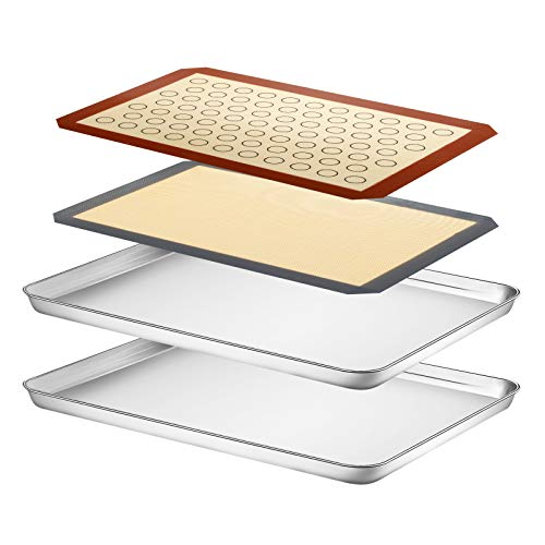 Baking Sheet with Silicone Mat Set, Yododo Set of 4 (2 Sheets + 2 Mats), Stainless Steel Cookie Sheet Baking Pan Tray with Silicone Mat, Non Toxic & Heavy Duty & Easy Clean – Size of 17½ inch