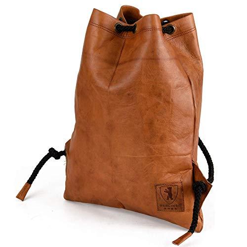 Berliner Bags Turnbeutel Gym Bag aus Leder Beutel Rucksack Sportbeutel Turntasche Wasserdicht Damen Herren Vintage Braun