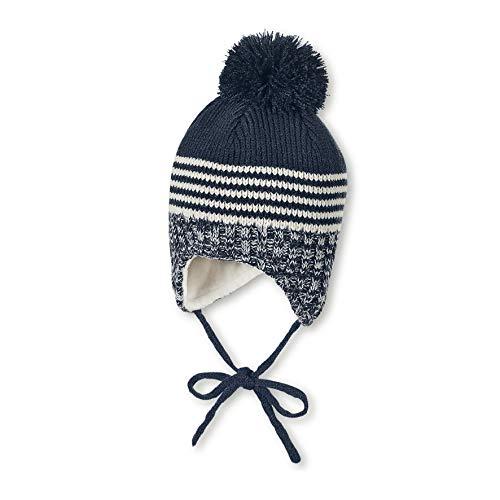 Sterntaler Mütze für Jungen mit Bommel und Strickmustern, Gefüttert mit Baumwoll-Fleece, Alter: 12-18 Monate, Größe: 49, Blau (Marine)