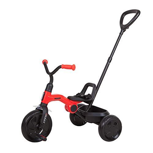 QPLAY Triciclo Plegable Ant Plus Rojo con Barra de Empuje
