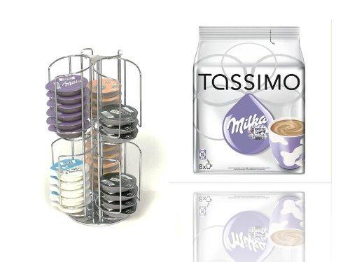 TASSIMO T-Disc Milka NEU Schokolade 8 Getränke + dem drehbaren Ständer passend für 48 T-Disc