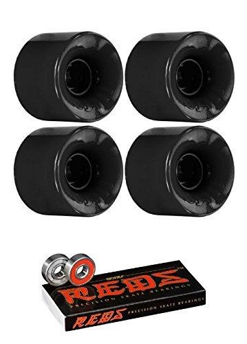 Oj Wheels 60mm Hot Juice Longboard Skateboard Wheels with Bones Bearings - 8mm Bones REDS Precision Skate Rated Skateboard Bearings - Bundle of 2 items