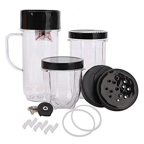 18 Pack Deluxe Replacement Parts Repair Kit - 22/16/12 OZ Mug & Cups with Lids & Cross blade Set, Compatible with Magic Bullet Blender 250W Juicer Mixer Model MB 1001, MB 1001B, MBR-1101, MBR-1701