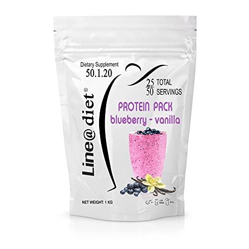 PROTEIN PACK Shake 1 kg MIRTILLO VANIGLIA | whey protein shake line@diet | da 25 a 50 porzioni con il 75% di PROTEINE per sportivi e per rimettersi in forma (50 Snack / 33 Pasti)!